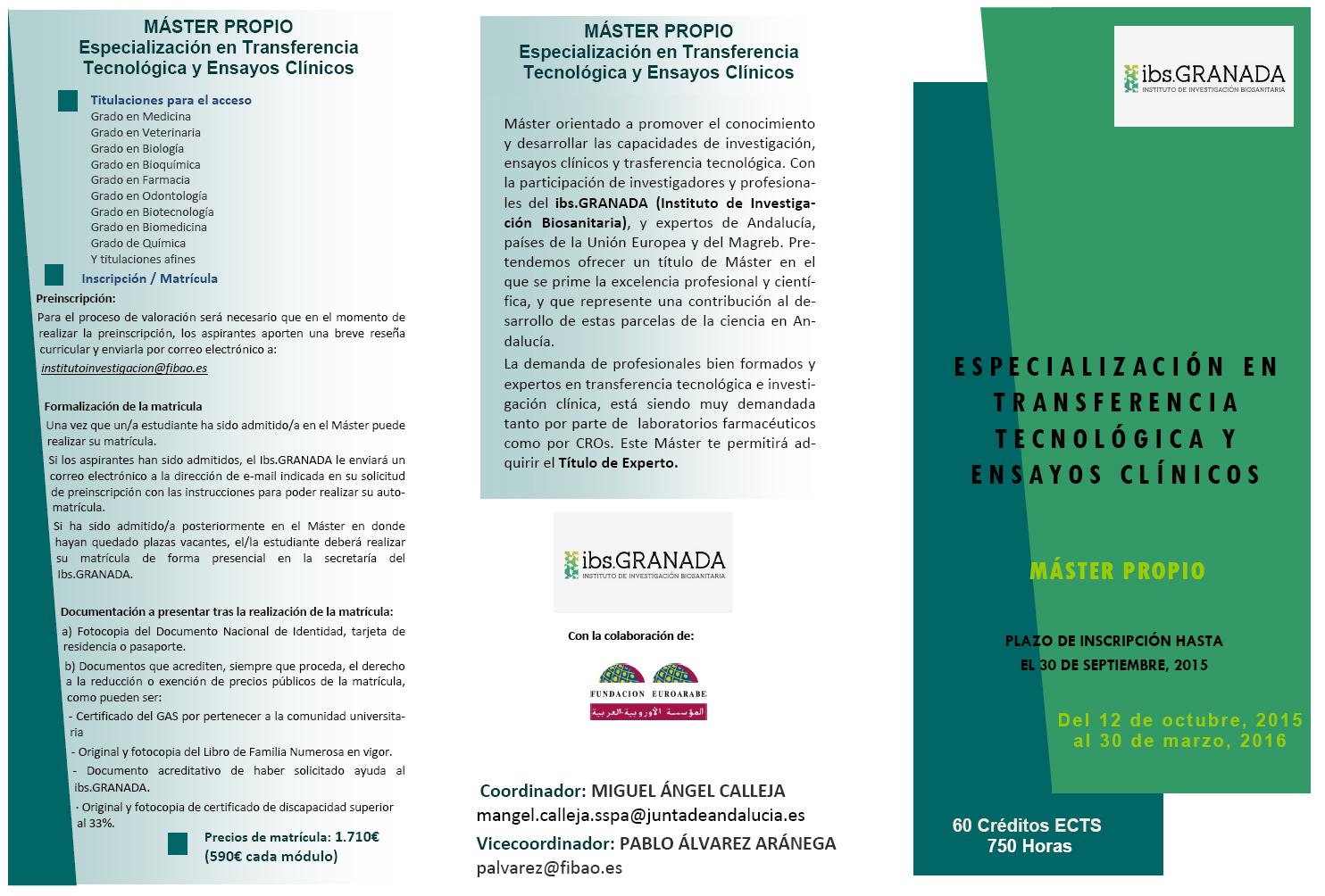 Máster Propio de Especialización en Transferencia Tecnológica y Ensayos Clínicos