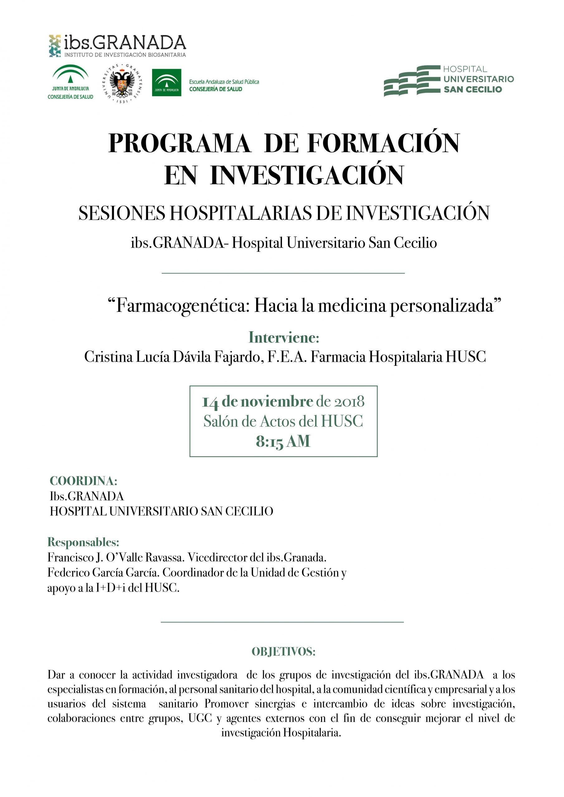 Sesión Hospitalaria ibs.GRANADA: Farmacogenética: Hacia la Medicina Personalizada