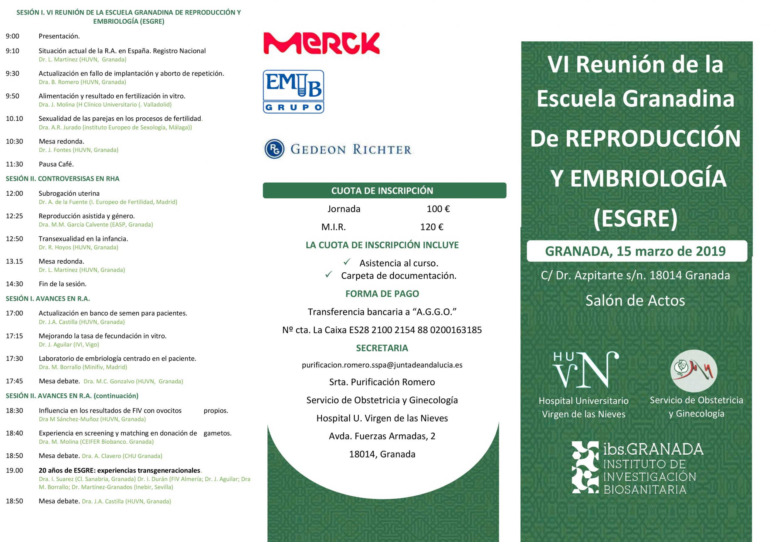 VI Reunión de la Escuela Granadina de Reproducción y Embriología