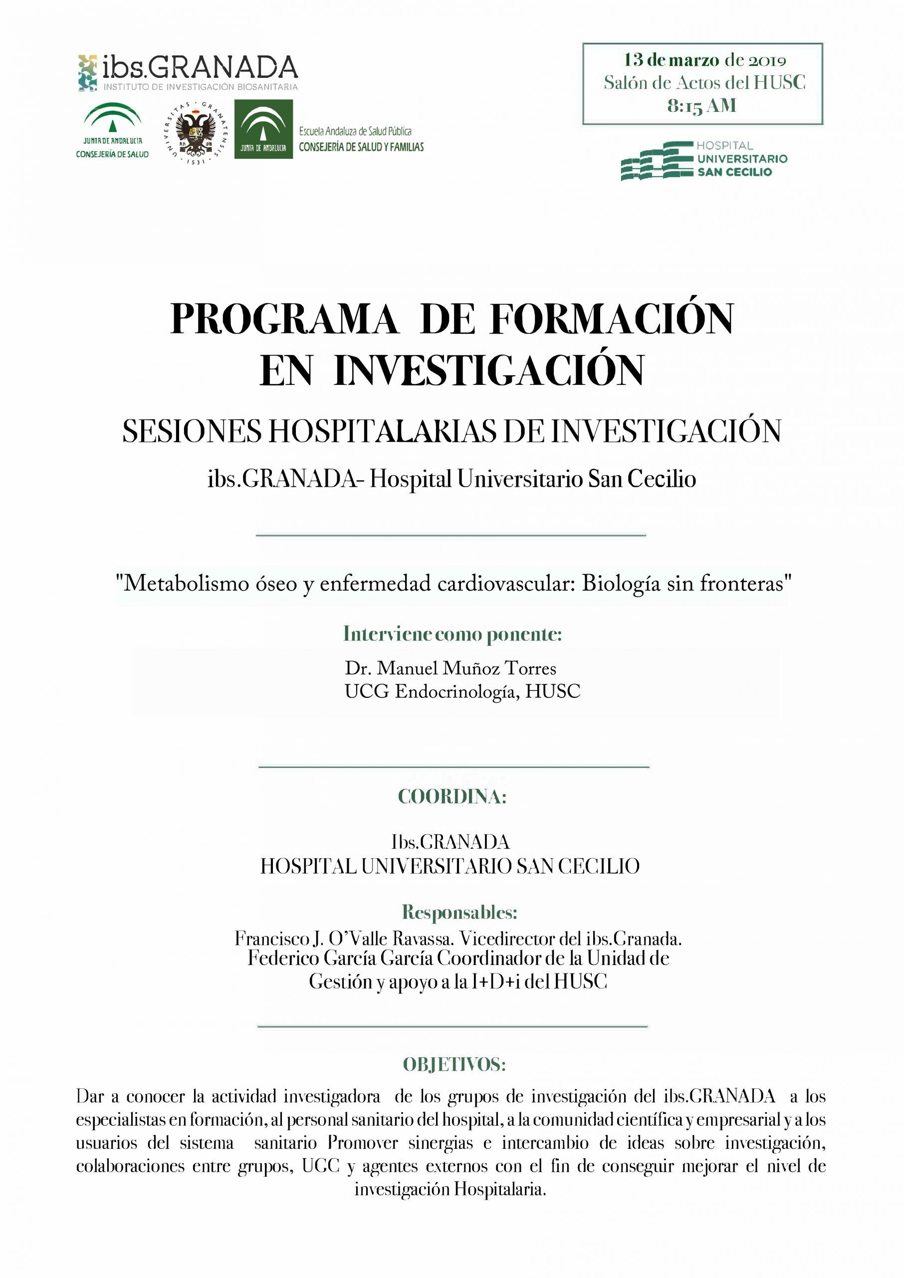 """Sesión Hospitalaria: """"Metabolismo óseo y enfermedad cardiovascular: Biología sin fronteras """""""