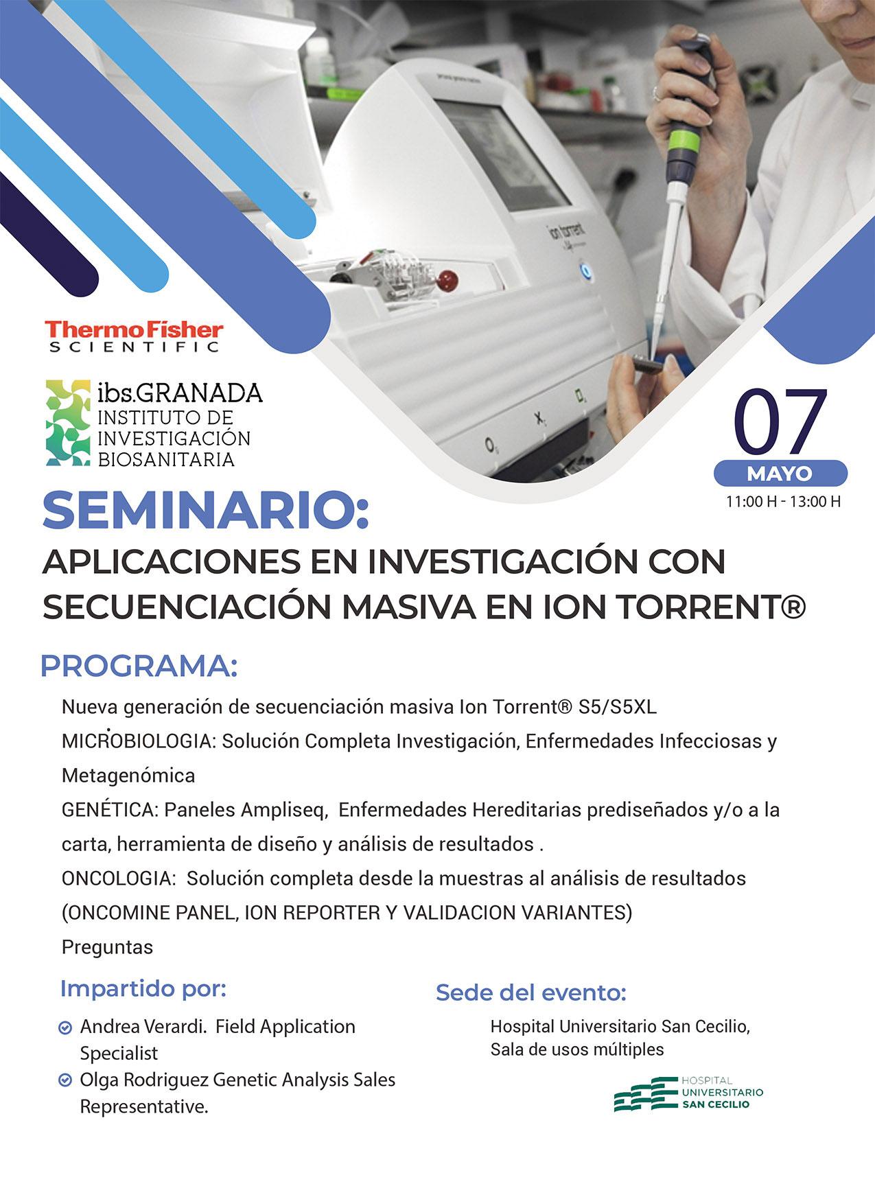 SEMINARIO: Aplicaciones en investigación con Secuenciación masiva en Ion Torrent®