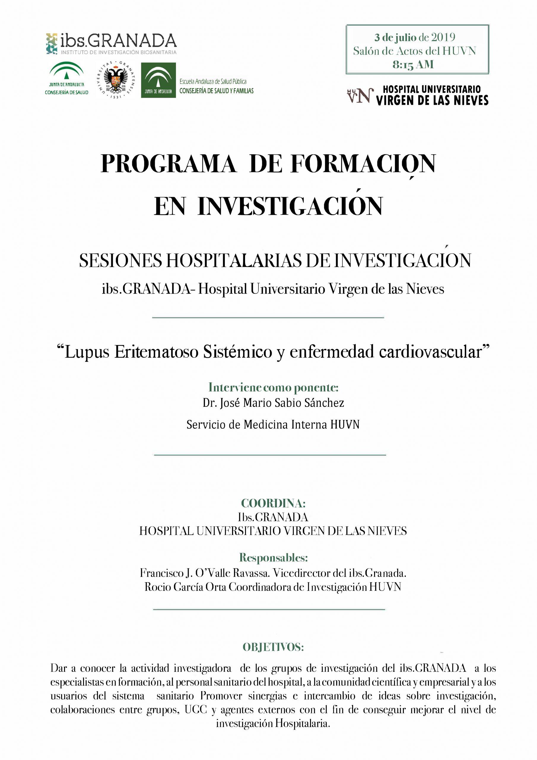 """Sesión Hospitalaria: """"Lupus Eritematoso Sitémico y enfermedad cardiovascular"""""""