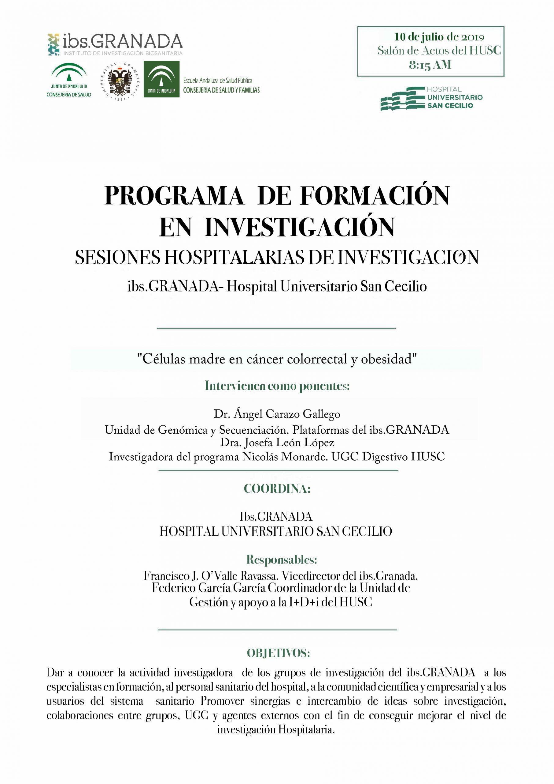 """Sesión Hospitalaria: """"Células madre en cáncer colorrectal y obesidad"""""""