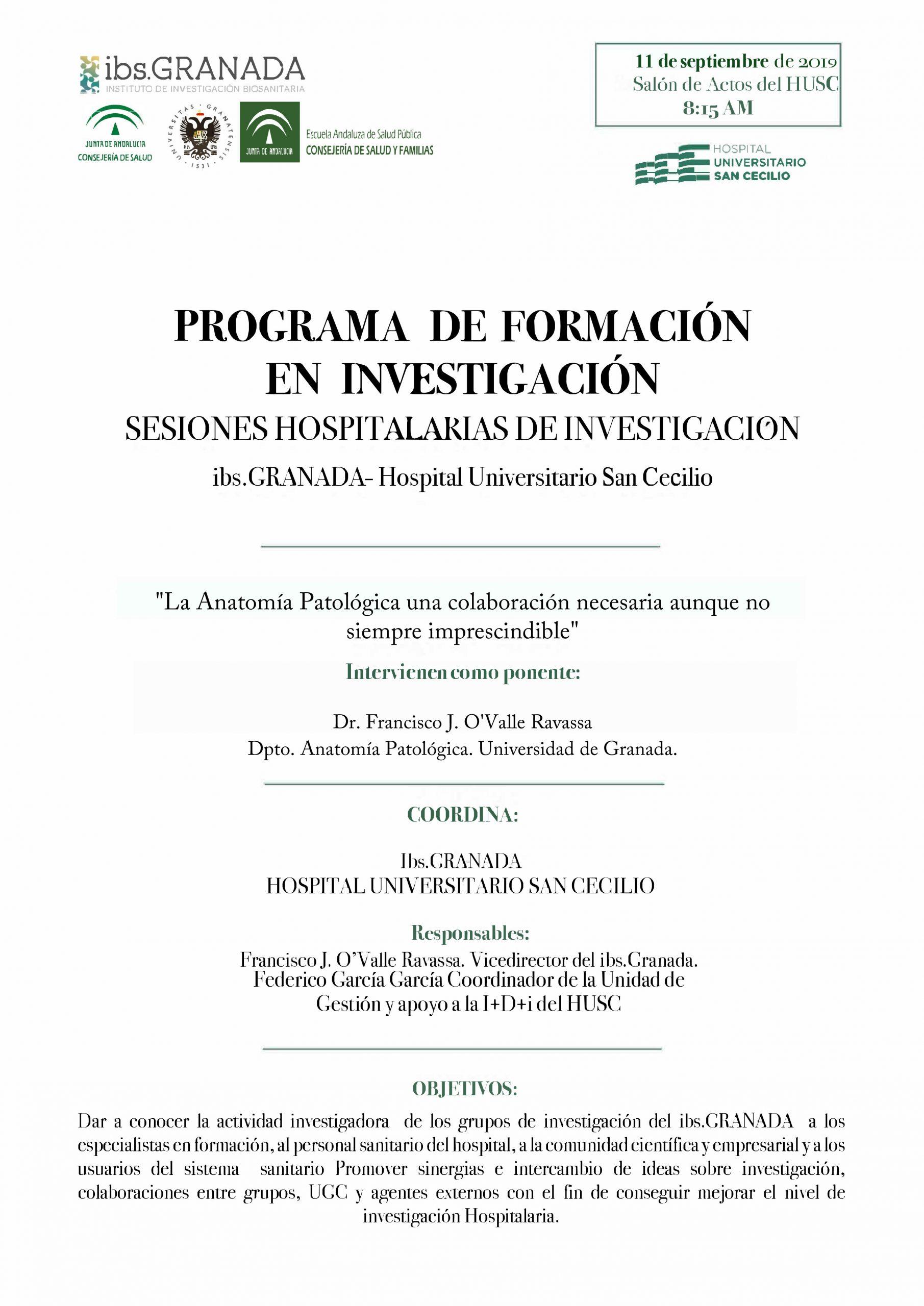 """Sesión Hospitalaria: """"La Anatomía Patológica: una colaboración necesaria, pero no imprescindible"""""""