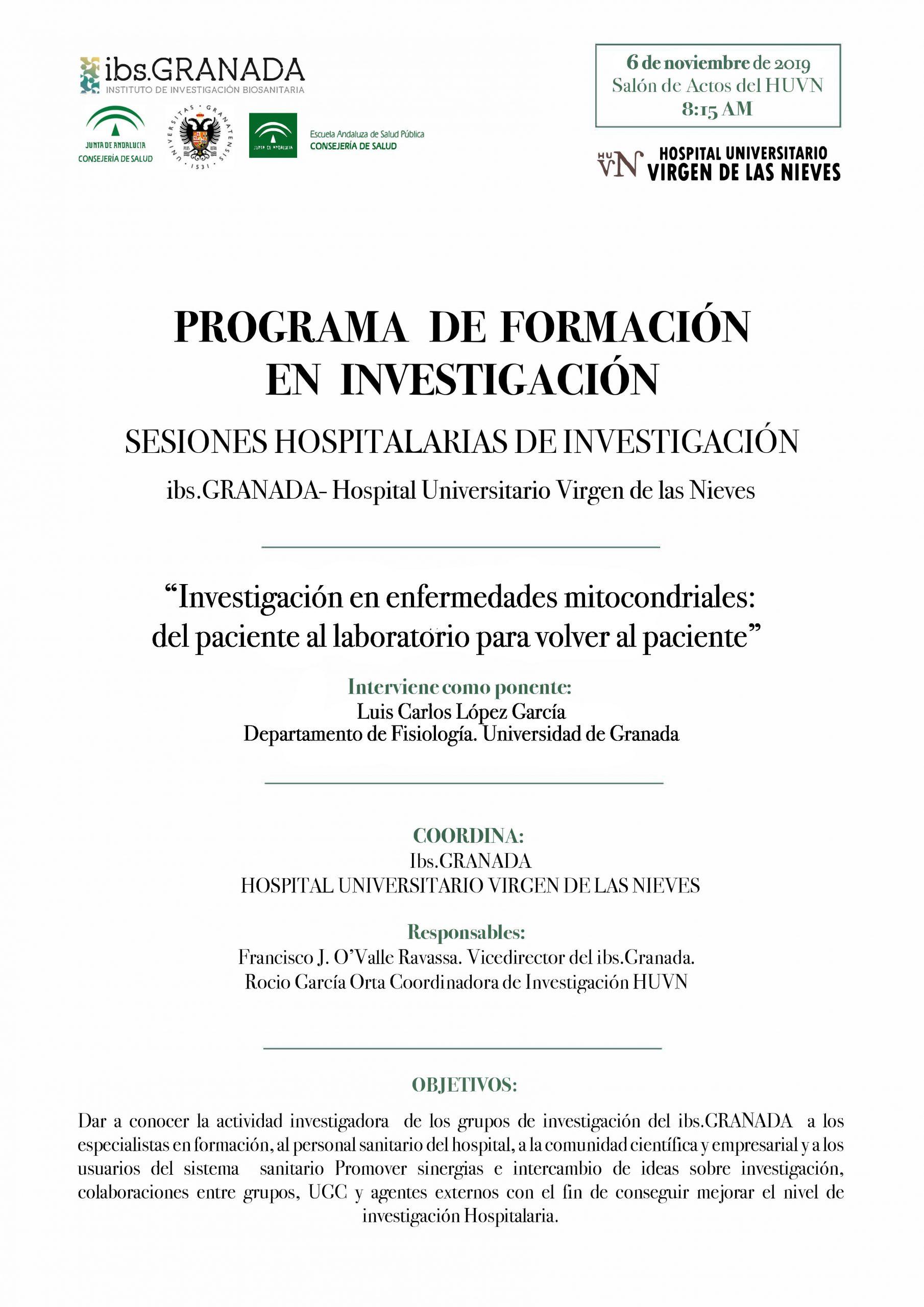 """Sesión Hospitalaria: """"Investigación en enfermedades mitocondriales: del paciente al laboratorio para volver al paciente"""""""